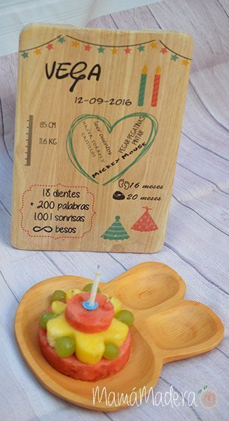 Lámina personalizada de madera Cumpleaños 1
