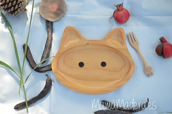 Plato Madera Eco-Friendly Gato 2