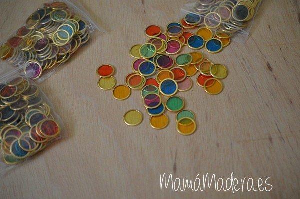 100 fichas de colores con aro metálico 1