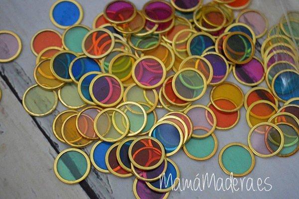 100 fichas de colores con aro metálico 2
