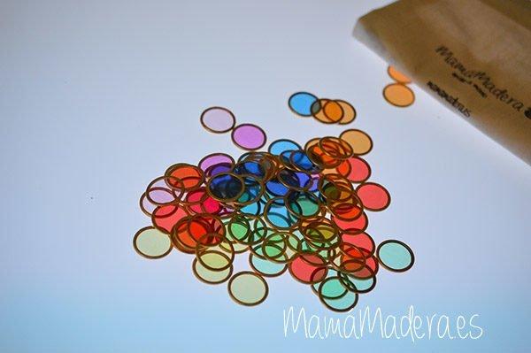 100 fichas de colores con aro metálico 6