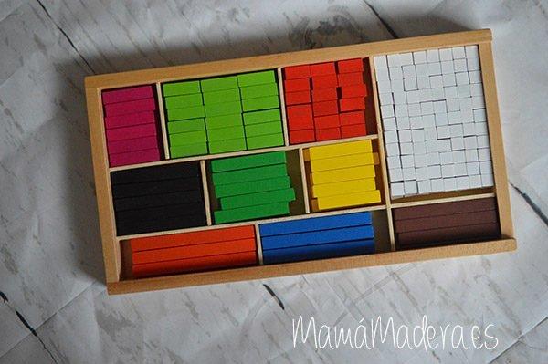 Regletas de madera Cuisenaire de diferentes longitudes para las matemáticas 1