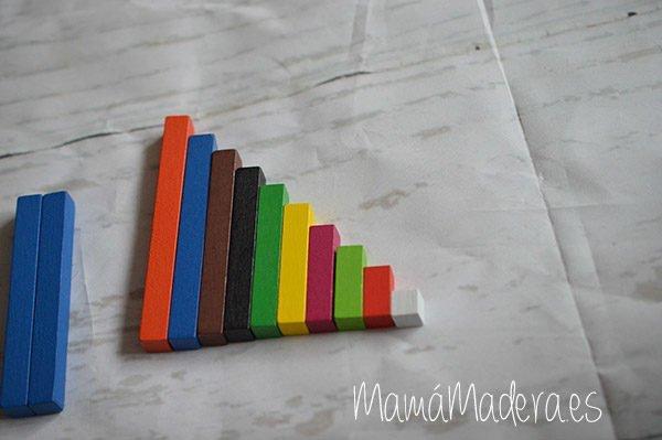 Regletas de madera Cuisenaire de diferentes longitudes para las matemáticas 7