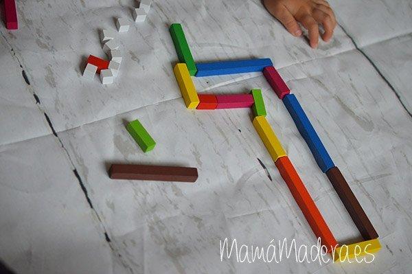 Regletas de madera Cuisenaire de diferentes longitudes para las matemáticas 3