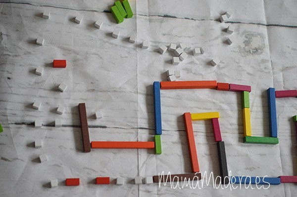 Regletas de madera Cuisenaire de diferentes longitudes para las matemáticas 6