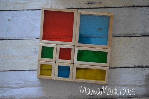 Set de 8 Bloques de madera transparentes con colores primarios 2