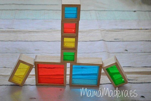 Set de 8 Bloques de madera transparentes con colores primarios 3