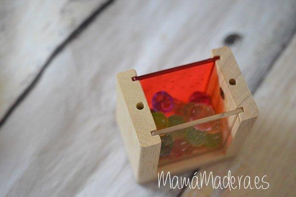 Set de 8 Bloques de madera transparentes con colores primarios 5