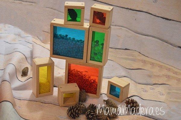 Set de 8 Bloques de madera transparentes con colores primarios 1