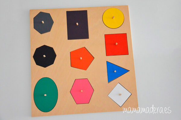 Puzle de madera con 10 formas geométricas de diferentes colores 7