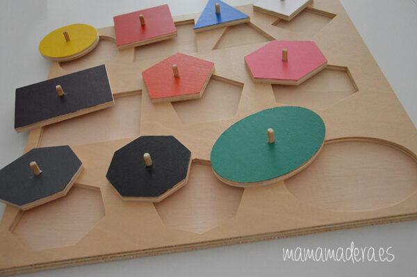 Puzle de madera con 10 formas geométricas de diferentes colores 8