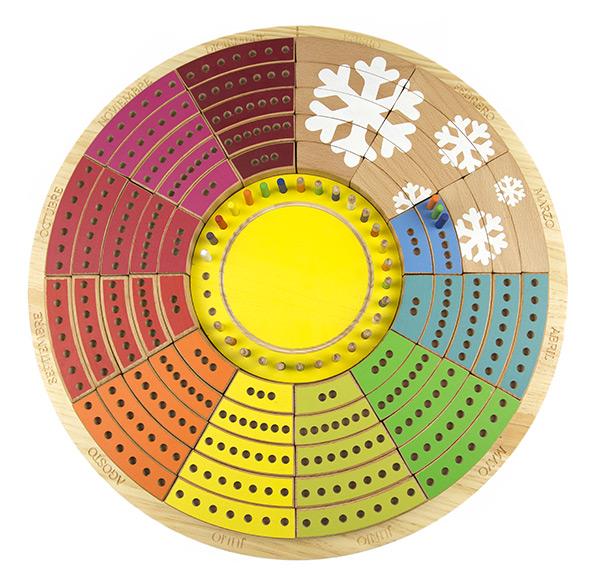 Calendario circular permanente de madera 3